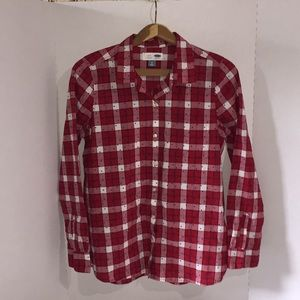 Old Navy plaid button up shirt.